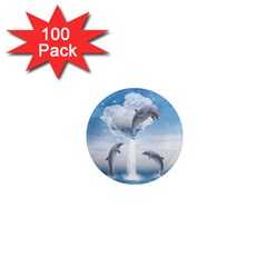 The Heart Of The Dolphins 1  Mini Button Magnet (100 Pack)
