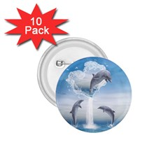 The Heart Of The Dolphins 1.75  Button (10 pack)