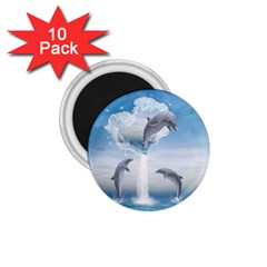 The Heart Of The Dolphins 1.75  Button Magnet (10 pack)