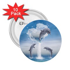 The Heart Of The Dolphins 2.25  Button (10 pack)