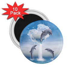 The Heart Of The Dolphins 2.25  Button Magnet (10 pack)