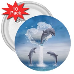 The Heart Of The Dolphins 3  Button (10 pack)