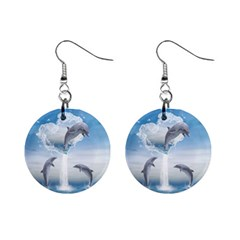 The Heart Of The Dolphins Mini Button Earrings