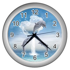 The Heart Of The Dolphins Wall Clock (silver)