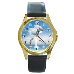 The Heart Of The Dolphins Round Metal Watch (gold Rim)
