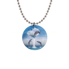 The Heart Of The Dolphins Button Necklace
