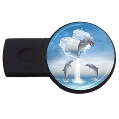 The Heart Of The Dolphins 4gb Usb Flash Drive (round)
