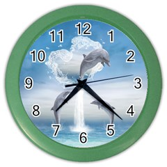 The Heart Of The Dolphins Wall Clock (Color)