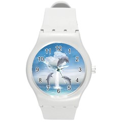 The Heart Of The Dolphins Plastic Sport Watch (Medium)