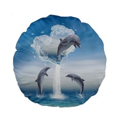 The Heart Of The Dolphins 15  Premium Round Cushion