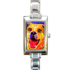 Happy Dog Rectangular Italian Charm Watch