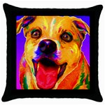 Happy Dog Black Throw Pillow Case Front