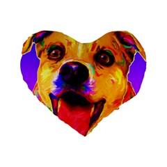 Happy Dog 16  Premium Heart Shape Cushion