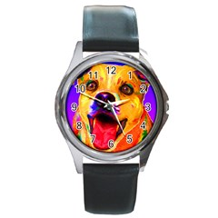 Happy Dog Round Metal Watch (Silver Rim)