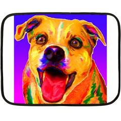 Happy Dog Mini Fleece Blanket (Two-sided)