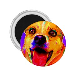 Happy Dog 2 25  Button Magnet