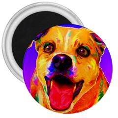 Happy Dog 3  Button Magnet
