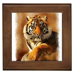 Tiger Framed Ceramic Tile