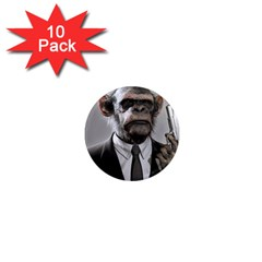 Monkey Business 1  Mini Button Magnet (10 Pack)