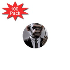 Monkey Business 1  Mini Button Magnet (100 Pack)