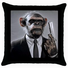 Monkey Business Black Throw Pillow Case