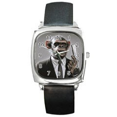 Monkey Business Square Leather Watch