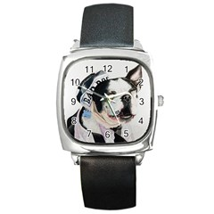 Bad Dog Square Leather Watch