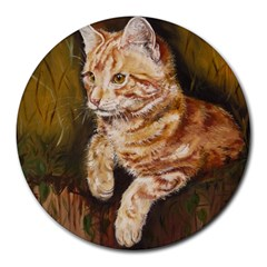 Cute Cat 8  Mouse Pad (Round)