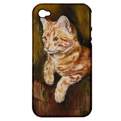 Cute Cat Apple Iphone 4/4s Hardshell Case (pc+silicone)