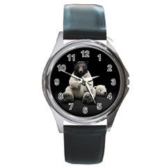 Bear in Mask Round Metal Watch (Silver Rim)