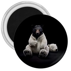Bear in Mask 3  Button Magnet