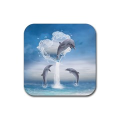 The Heart Of The Dolphins Drink Coaster (Square)