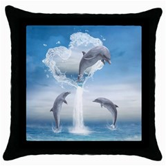 The Heart Of The Dolphins Black Throw Pillow Case