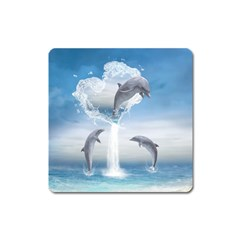 The Heart Of The Dolphins Magnet (Square)