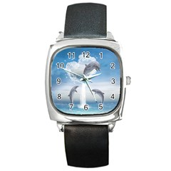 The Heart Of The Dolphins Square Leather Watch