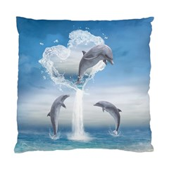 The Heart Of The Dolphins Cushion Case (one Side)