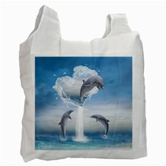The Heart Of The Dolphins Recycle Bag (two Sides)