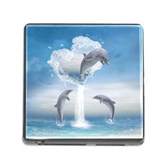 The Heart Of The Dolphins Memory Card Reader with Storage (Square)