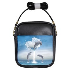 The Heart Of The Dolphins Girl s Sling Bag