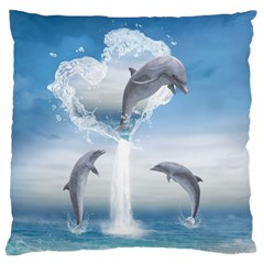 The Heart Of The Dolphins Large Cushion Case (one Side)