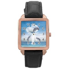 The Heart Of The Dolphins Rose Gold Leather Watch