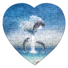 The Heart Of The Dolphins Jigsaw Puzzle (heart)