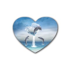 The Heart Of The Dolphins Drink Coasters 4 Pack (Heart)