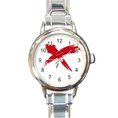 Red X Round Italian Charm Watch