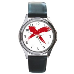Red X Round Metal Watch (silver Rim)