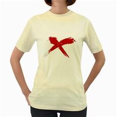red x  Womens  T-shirt (Yellow)