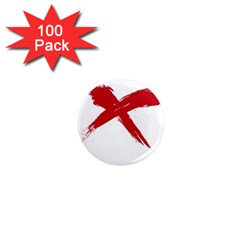 Red X 1  Mini Button Magnet (100 Pack)