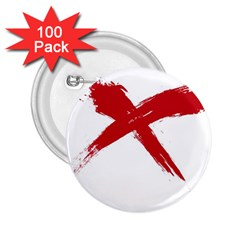 Red X 2 25  Button (100 Pack)