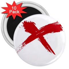 red x 3  Button Magnet (10 pack)