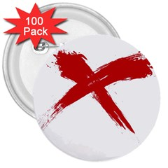 Red X 3  Button (100 Pack)